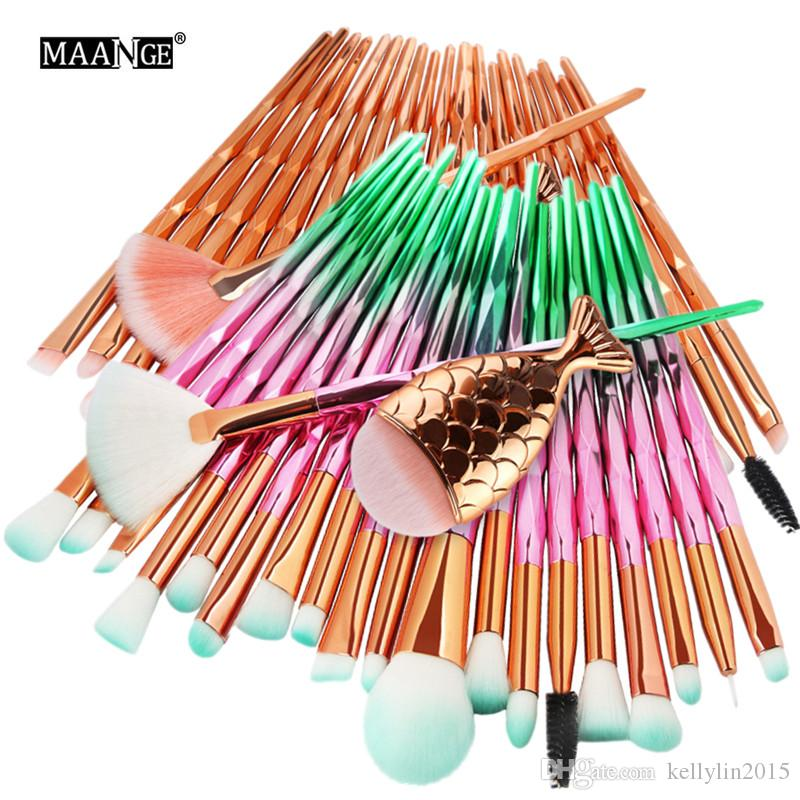 Mermaid Makeup Brush Set 21pcs Little Big Fish Tail Foundation Brush Powder Eyeliner Eyebrow Eye shadow Diamond Make up Brushes Kit