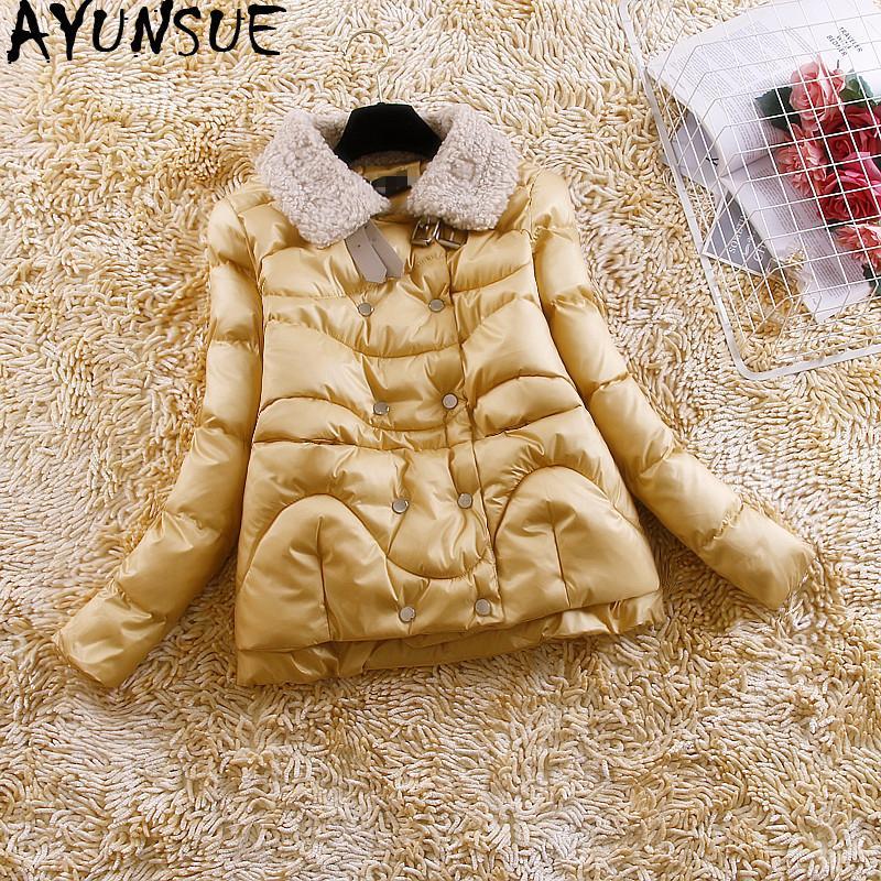 AYUNSUE Kış Coat Down Kadınlar Pamuk Ceket Kısa Parka Kabarcık Coat Kore Yün Yaka Kadın Ceketler Parkas Mujer 2019 KJ3728