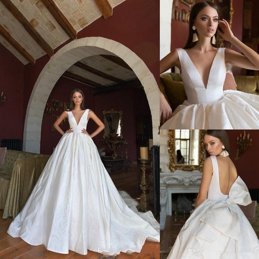 2020 Eva Lendel Bohemian vestido de baile vestidos de noiva V Neck Backless mangas Varrer Train País vestido nupcial Bow Plus Size vestido de casamento