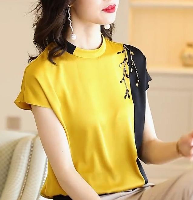 Giallo a maniche corte collare basamento donne slaccia il 2020 perline di gelso della camicia di seta gialla camicia a maniche corte delle donne 2020 sciolto supporto coll