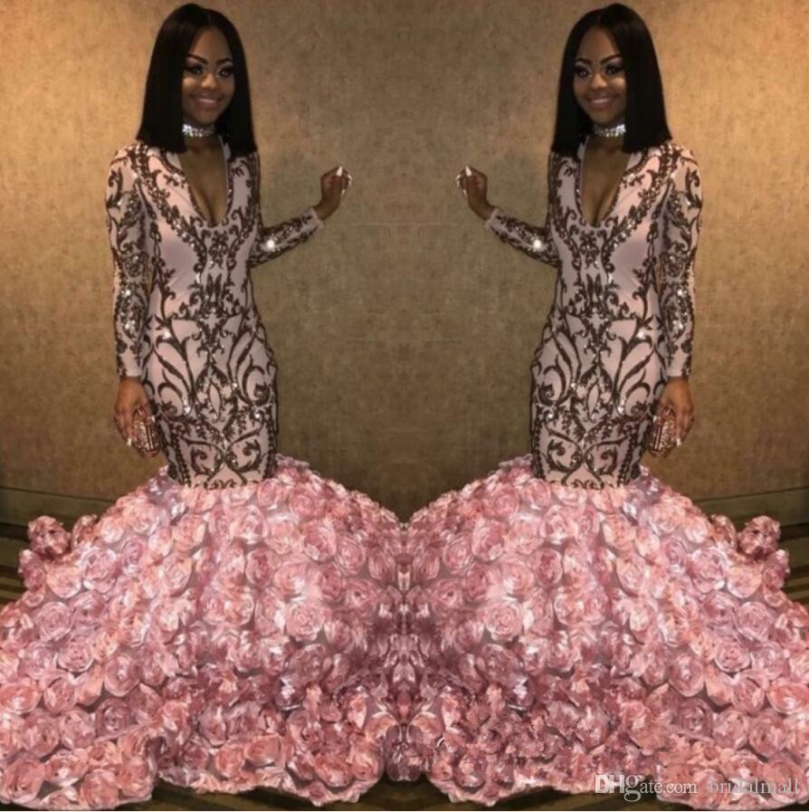 Rosa 3D Floral Rose Blumen-Nixe-Abend-Kleider 2020 Gold Appliques V-Ausschnitt African Promkleider Sexy Long Sleeves Partei Festzug-Kleider