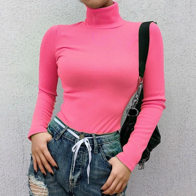Autunno Inverno a maniche lunghe maglione dolcevita Donne Streetwear Solid Knit maglioni delle donne di colore rosa Cotone Pullover Femme 2020