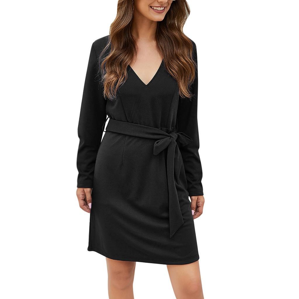 Vestir para las mujeres de la correa de la manera del color sólido Imprimir sueltos vestidos largos de la manga 2019 otoño invierno de mujeres Vestido de tirantes elegante formal