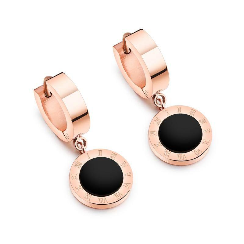 роскошные дизайнерские ювелирные изделия женские серьги падение серьги из нержавеющей стали розовое золото elagant асимметричный алмазный стержень