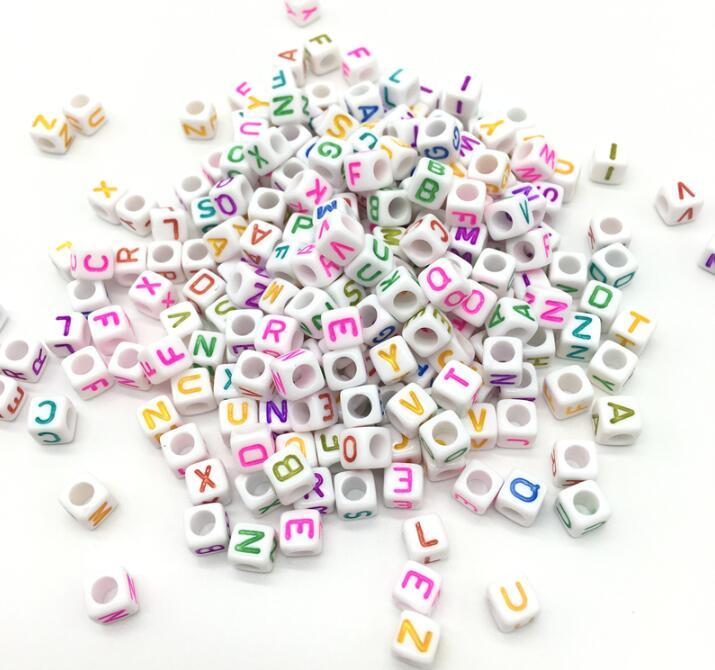 Hot Sale Bracelet Necklace Charms Random 500pcs 6MM Mixed Colors Acrylic Plastic Opaque Square Cubes Single Letter Alphabet Beads