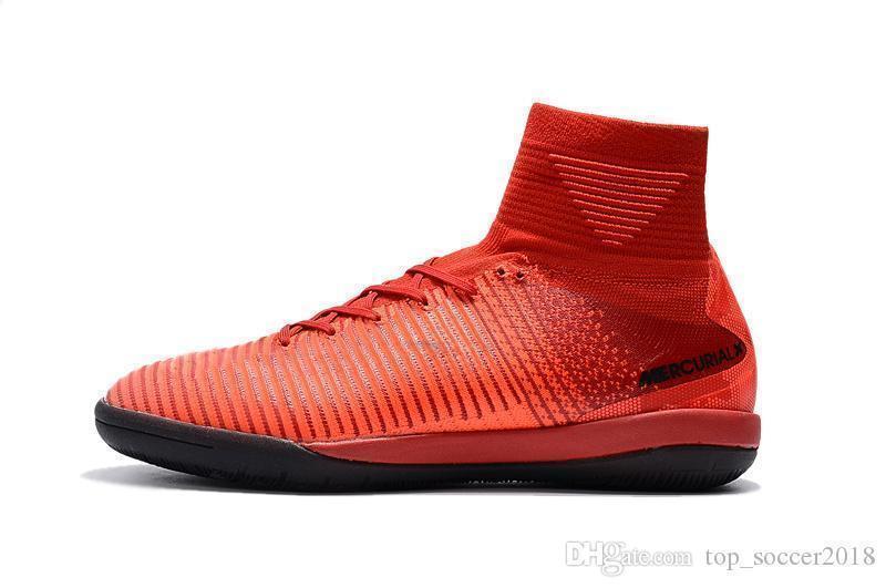 Botines de fútbol planos originales ICEFire 100% rojo negro Mercurial Superfly V SX Neymar JR IC Zapatos de fútbol para interiores Tobillo alto Botas de fútbol CR7