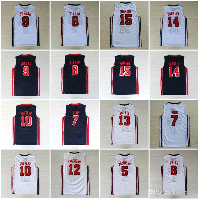 Collège 1992 Team USA Dream Team One John Stockton Jersey Patrick Ewing David Robinson Karl Malone Chris Mullin Johnson Jersey Tous surpiqué