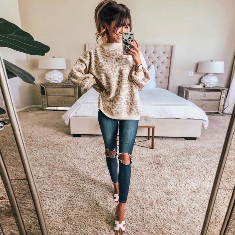 Géneros de punto del suéter del leopardo Mujer otoño más el tamaño de la manga del Batwing floja de gran tamaño caliente grueso invierno de las mujeres que hacen punto Suéter Y200116