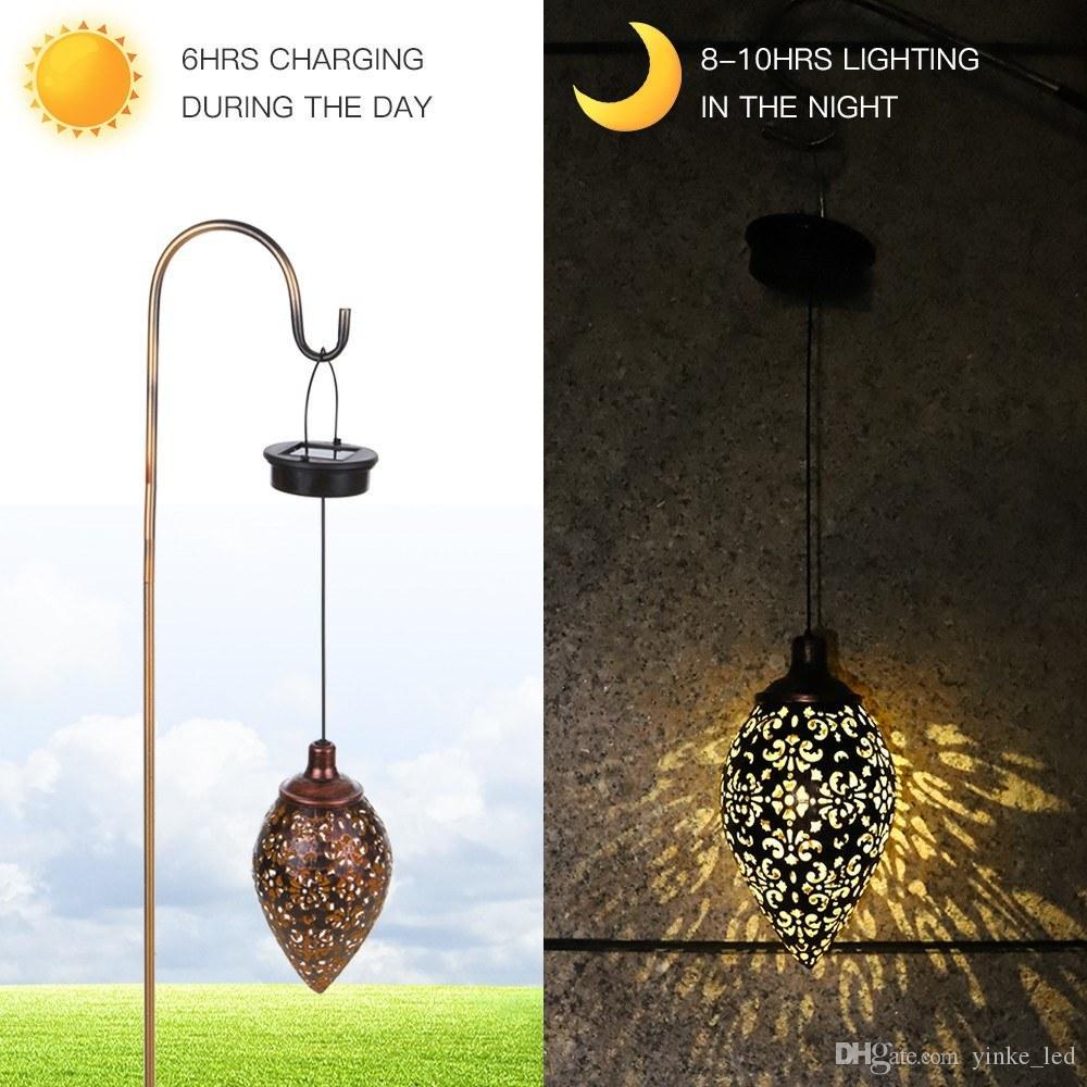 Pendurado LED Luz Solar Lâmpada impermeável ao ar livre Luzes Solar Powered para Patio Garden Courtyard Caminho Lawn Rua Decoração