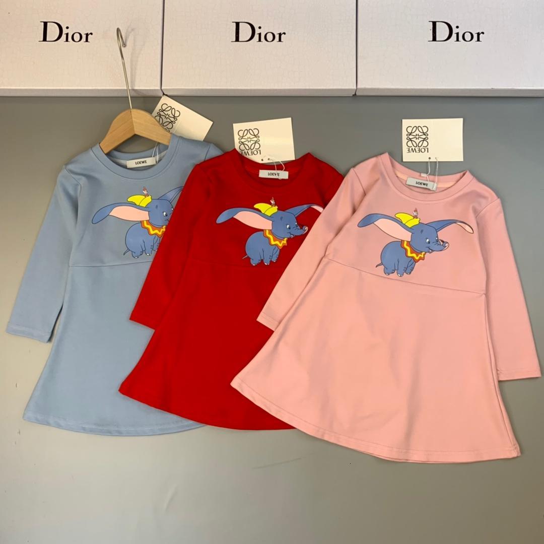 الفتيات القطن اللباس الاطفال مصمم ملابس الخريف لطيف الكرتون الفيل اللباس اللباس الاحتراق الحد الأدنى جديدة