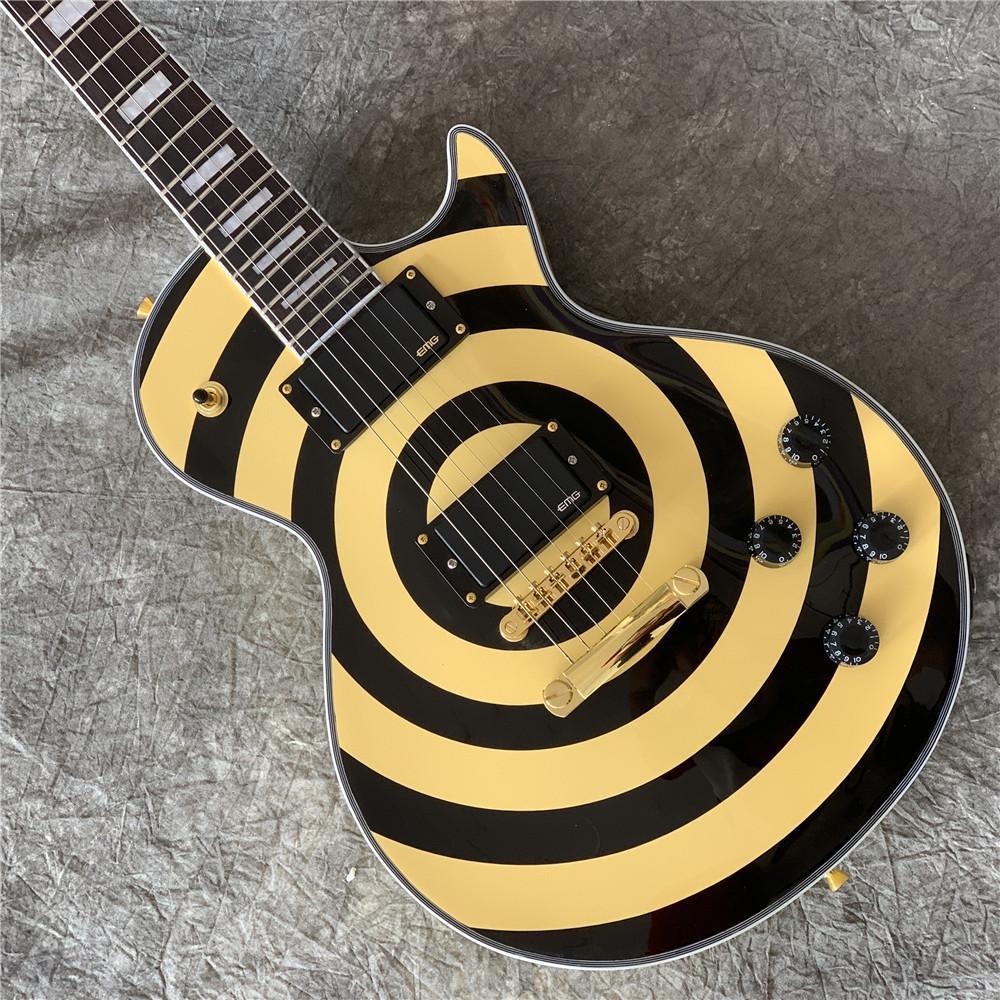KOSTENLOSER VERSCHIFFENSCHLIESSE SHOP SHOP ZAKK BLACK TWITED BULLSEYE GELFEHT E-Gitarre Ahorn-Hals-Griffbrett, weißer Pearl-Block Inlay, kopieren e