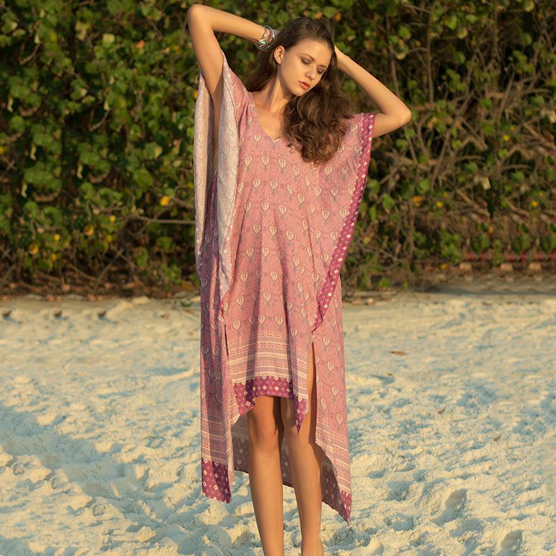 Yaz Elbise Moda Yeni kadın Elbise Tatil Rüzgar Plaj Etek V Yaka Kısa kollu Ruffled Yarasa Kollu Baskı Elbise