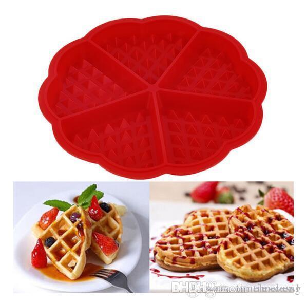 Heart Shape вафельный Mold Maker 5-Полость Силиконовые печь Пан Микроволновая печь для выпечки печенья торт булочка Готовим инструменты