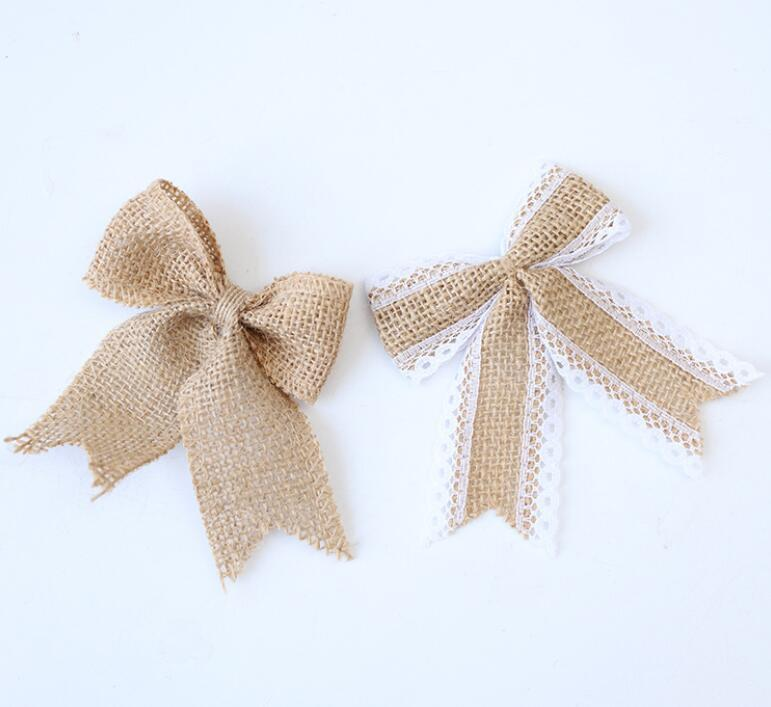 NEW Jute Burlap Bow Vintage Natural Jute Burlap Hessian Bows Lace Ribbon Wedding Decoration Rustic Mariage Jute Burlap Ribbon Bow Knot