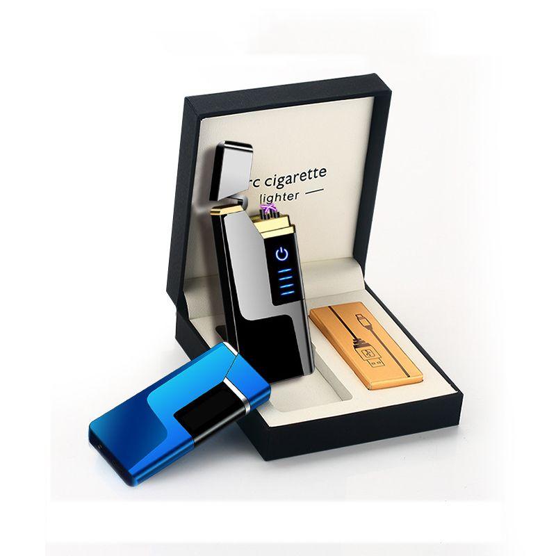 Электрическая дуга USB зажигалки Ультратонкий 9мм ветрозащитная Аккумуляторная Плазменная Зажигалки для сигарет Свечи с LED Display Power