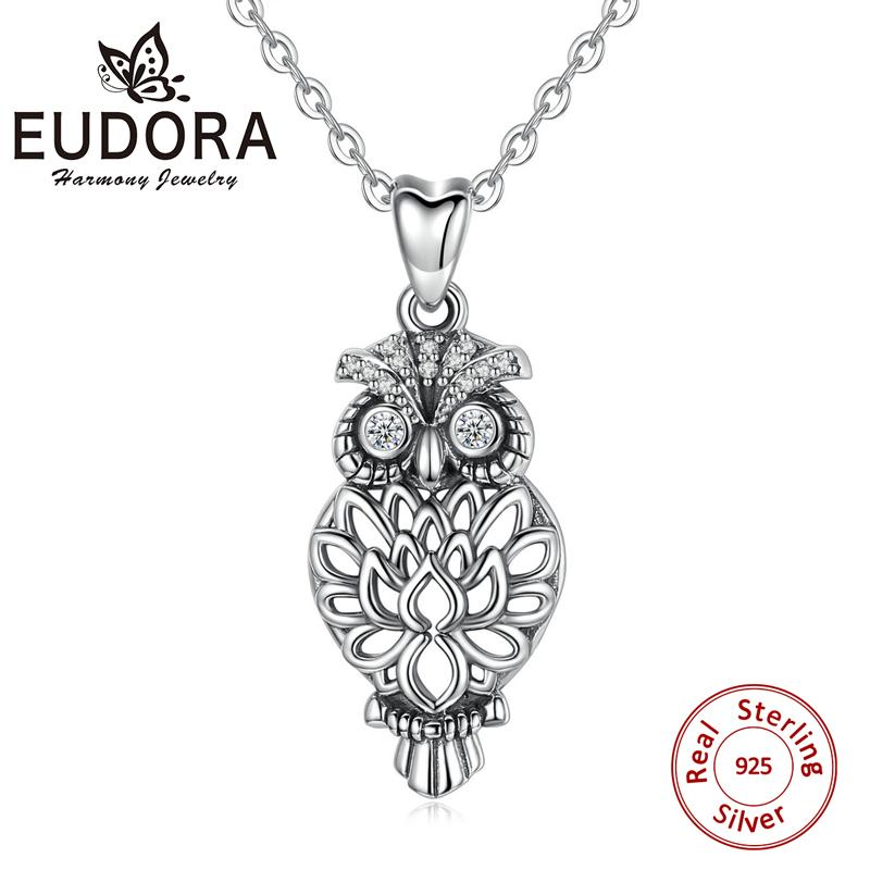 EUDORA Sterling Silver owl necklace bird pendant owl on tree branch necklace with Crystal CZ everyday jewelry holidays gift D434