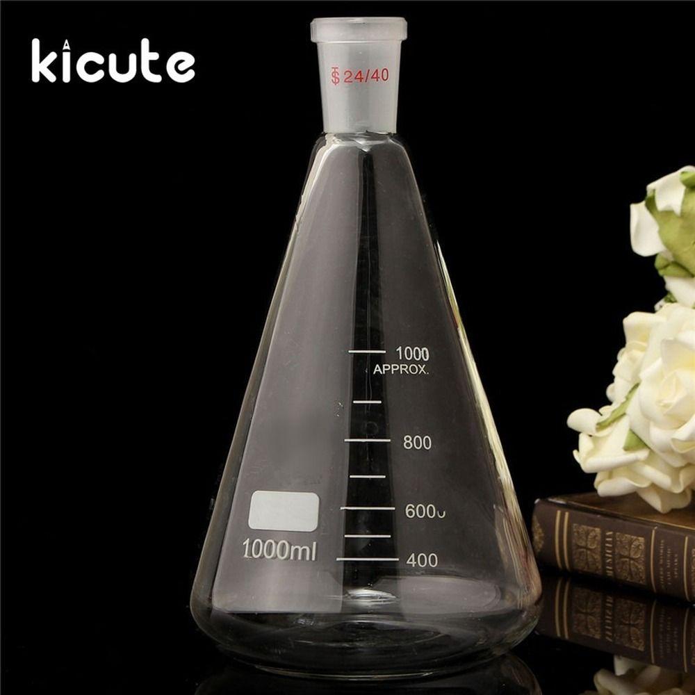 Los últimos suministros de laboratorio cristalería de herramientas de seguridad 24 / 401000ml de vidrio transparente matraz cónico de enseñanza de laboratorio suministros