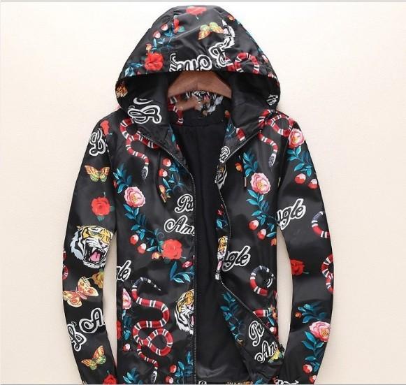 Mens Designer Coat Long Sleeved Jacket Men Fashion Tiger Snake Digital Print Jacket Brand Coat M-3XL