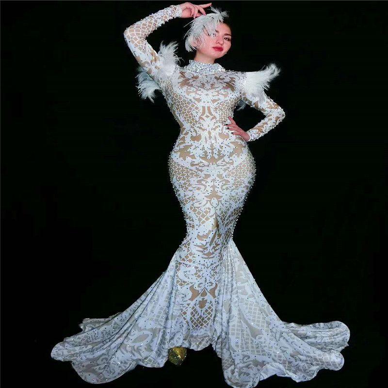 Les femmes Y02 spectacle porte longue soirée dansante costume plume blanche robe de soirée jupe robes de chanteur exécuter vêtements de fête jupe Hip discothèque