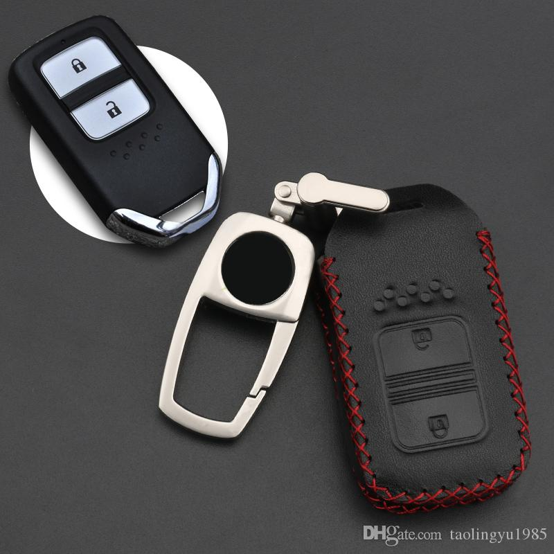 Leather Cover Car Key Protective Case Shell For Honda 2 Button Odyssey HR-V CRV Accord