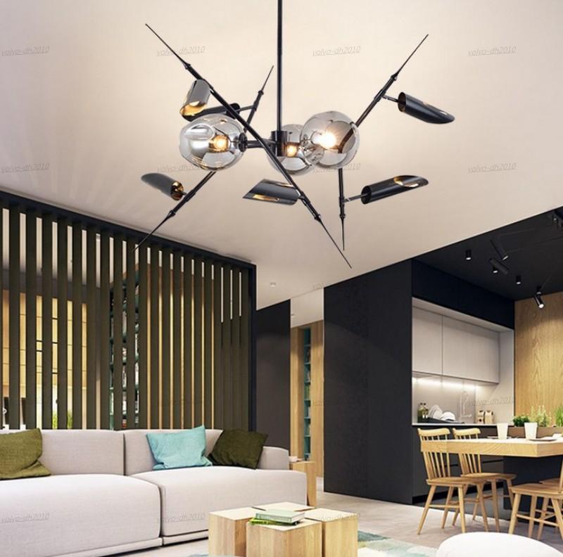 Moderna LED nero / oro pranzo pendente della stanza minimalista Luce Branch sospensione Soggiorno Lampade Luci nordiche Bar Cafe Light Fixtures LLFA