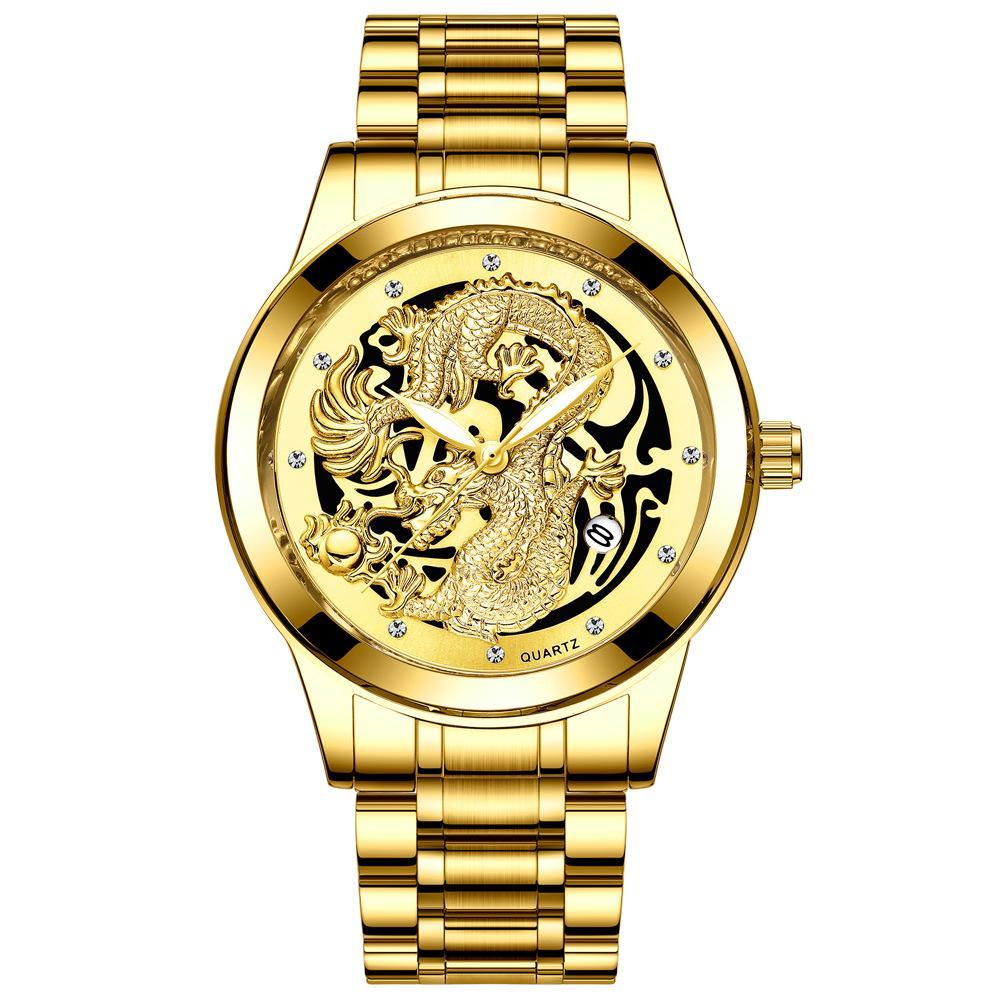 Reloj para hombre del reloj para hombre Fenzun no mecánica a prueba de agua ultra-delgado de acero correa de reloj del calendario de Oro Dragón y Phoenix Parejas