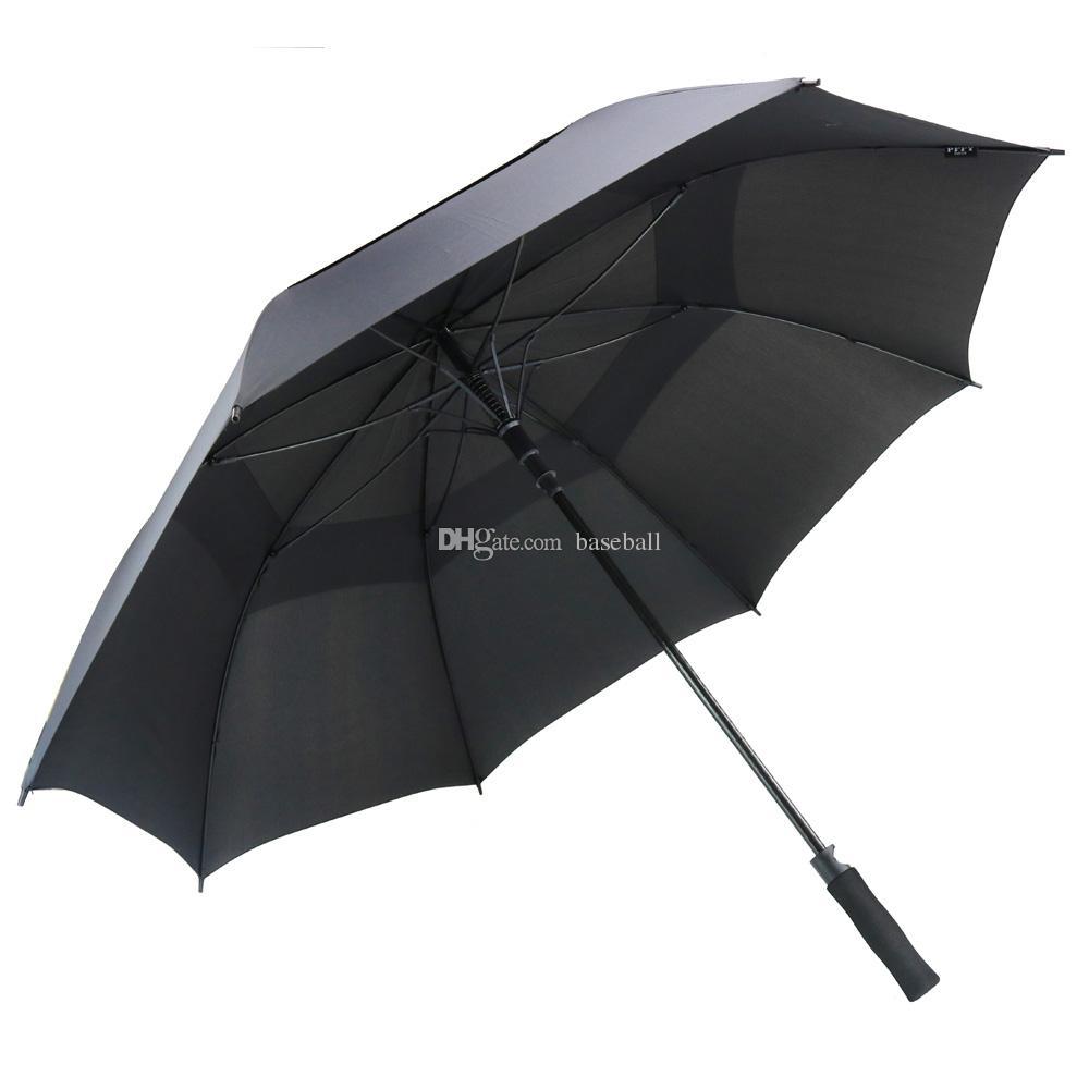 남자를위한 62 인치 골프 우산 자동 개방 방풍 우산 여분의 대형 특대 더블 캐노피 배출 방수 스틱