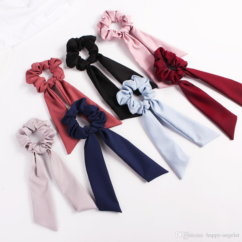 Streamers Hair Ring Fashion Ribbon Girl Elastic Hair Bands Scrunchies Horsetail Tie navy Vintage Women Headwear Hair Accessories 20pcs F325A