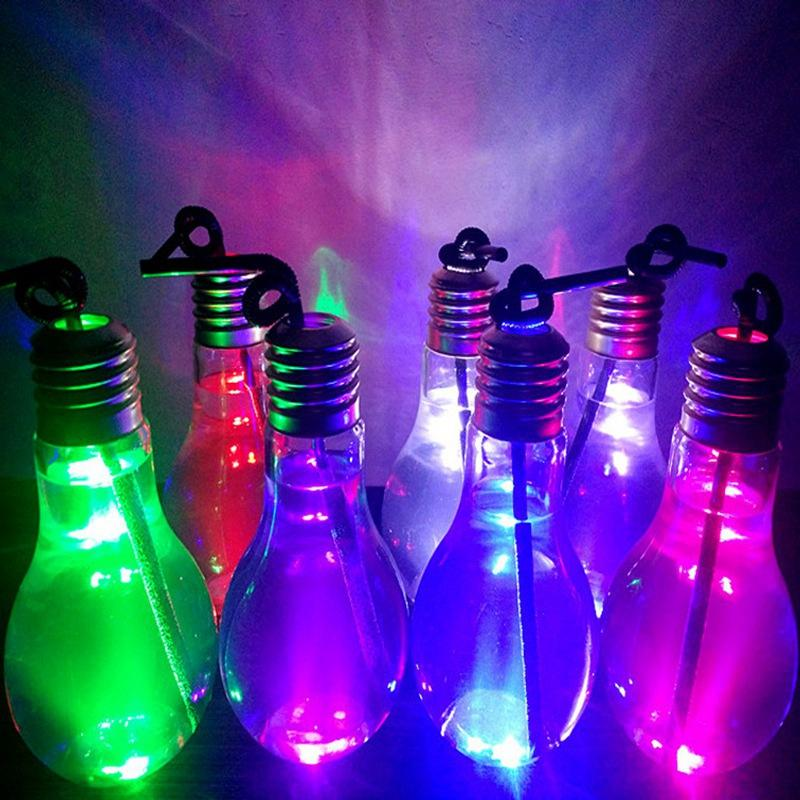 Bulb Shape Water Bottle 300ml 400ml 500ml LED Lighting Clear Cup Colorfull Lamp Glowing Beverage Juice Milky Bottle Cup Bar Kitchen