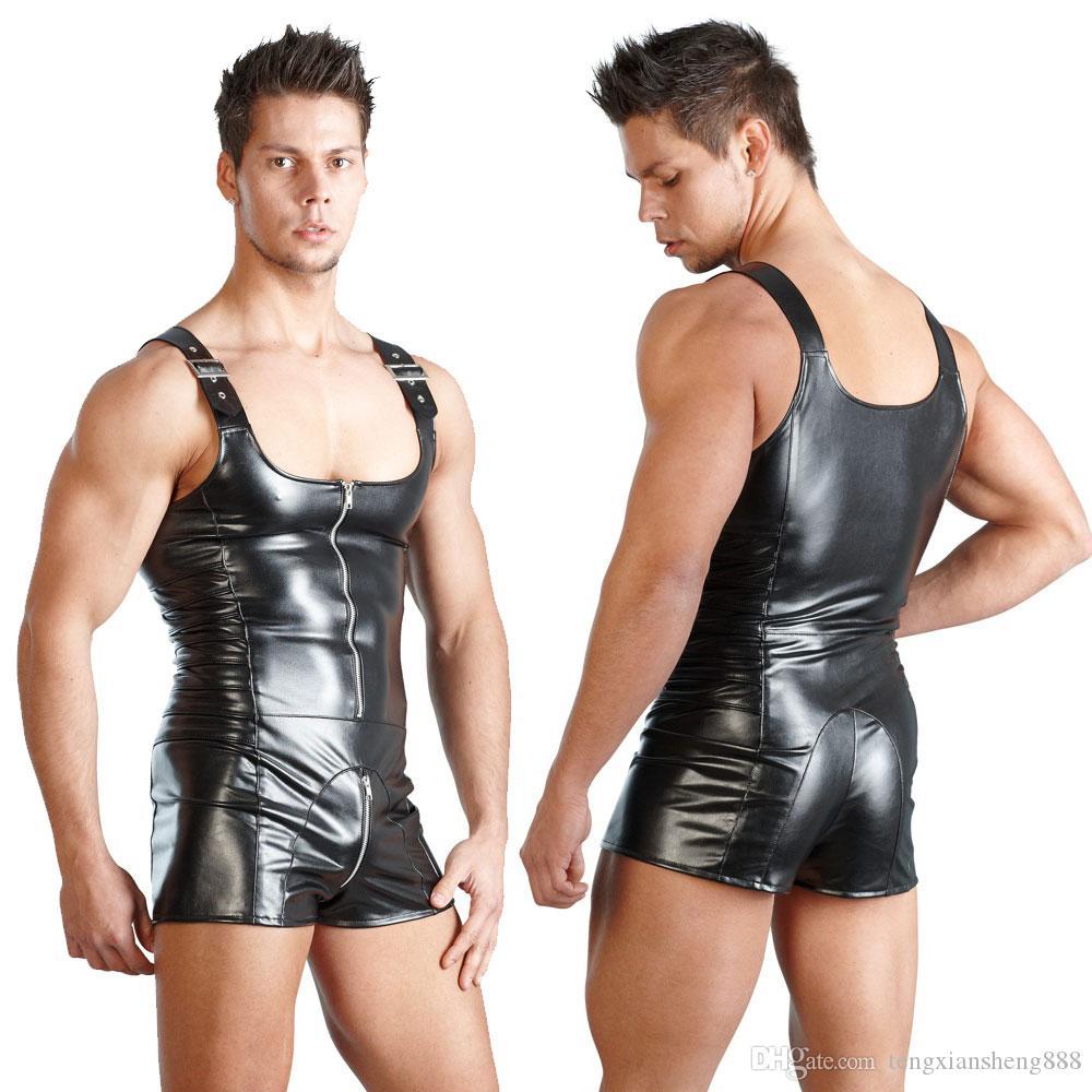 2020 Sexy Lingerie GAY Mens Bondage Fetish Black Stretch