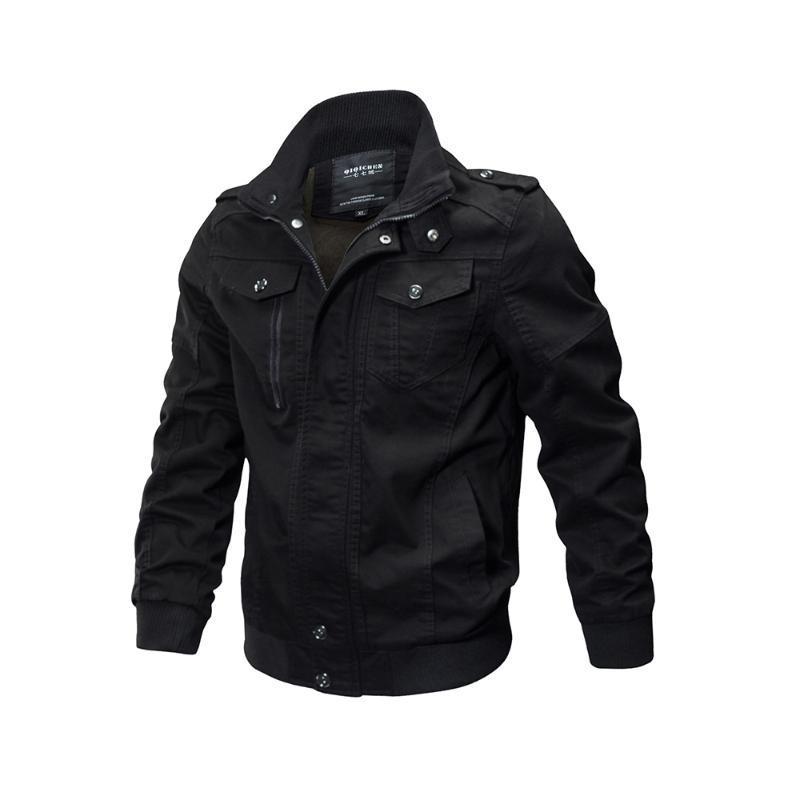 Hombres Chaquetas Casual Negro gótico más el tamaño flojo simple Calle Spring Green cremallera de color caqui capas de la moda Tallas Grandes abrigos