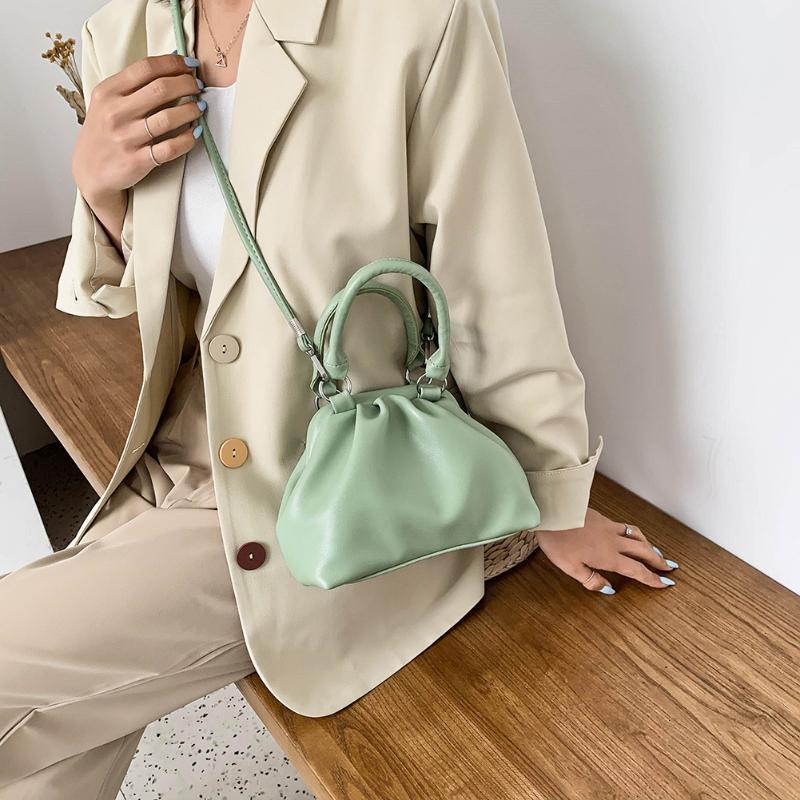 Del color del caramelo de la PU del hombro del cuero bolsas de mensajero para las mujeres 2020 de la cadena pequeña bolsa de viaje Crossbody bolsos y monederos # 36