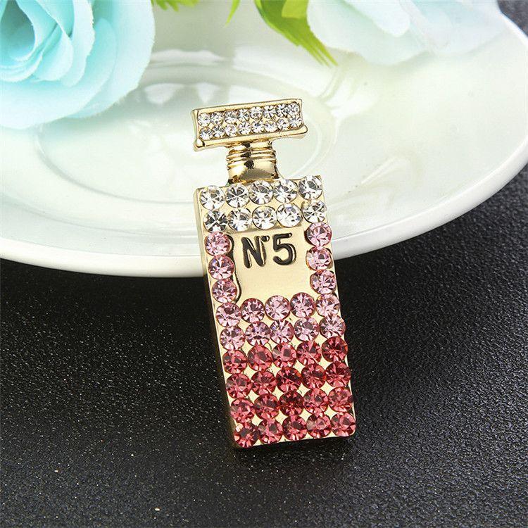 Carta Mini Moda de Nova na moda broche banhado a ouro cristal bonito Garrafa Brooch Pin para Meninas Mulheres Jóias presente QUENTE