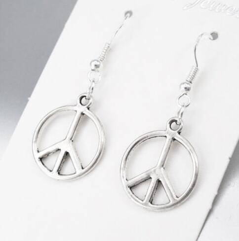 50Pair 925 Sterling Silver Fish Ear Hooks Earrings Retro Peace Sign Symbol Charms Eardrop Drop Earrings For Women Jewelry Friendship Gift