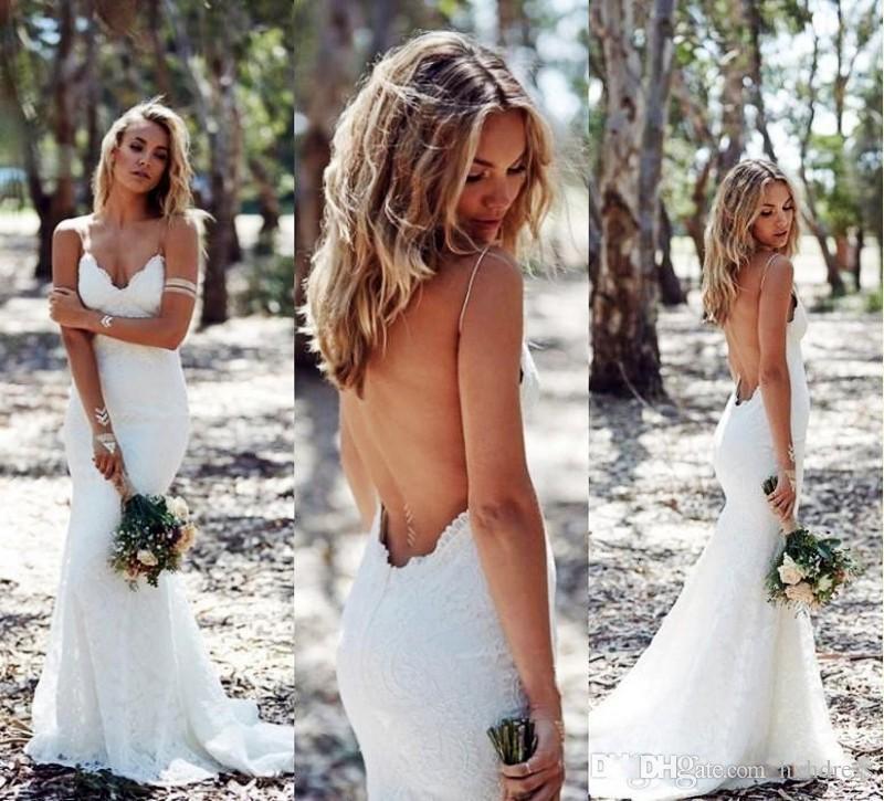 2019 Nuevos vestidos de novia sin espalda Sirena correa de espagueti Vestido de novia de encaje completo atractivo Barato espalda baja BOHO Vestido de novia blanco