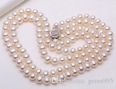 """argento doppi fili eleganti 9-10mm mare a sud tondo bianco collana di perle 18"""" 19"""" S925"""