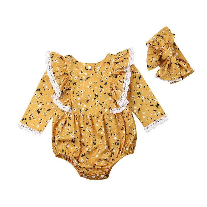 PUDCOCO 2pcs Newborn Baby Girls Floral Cotton Romper Jumpsuit Playsuit Headband Outfits 0-24M