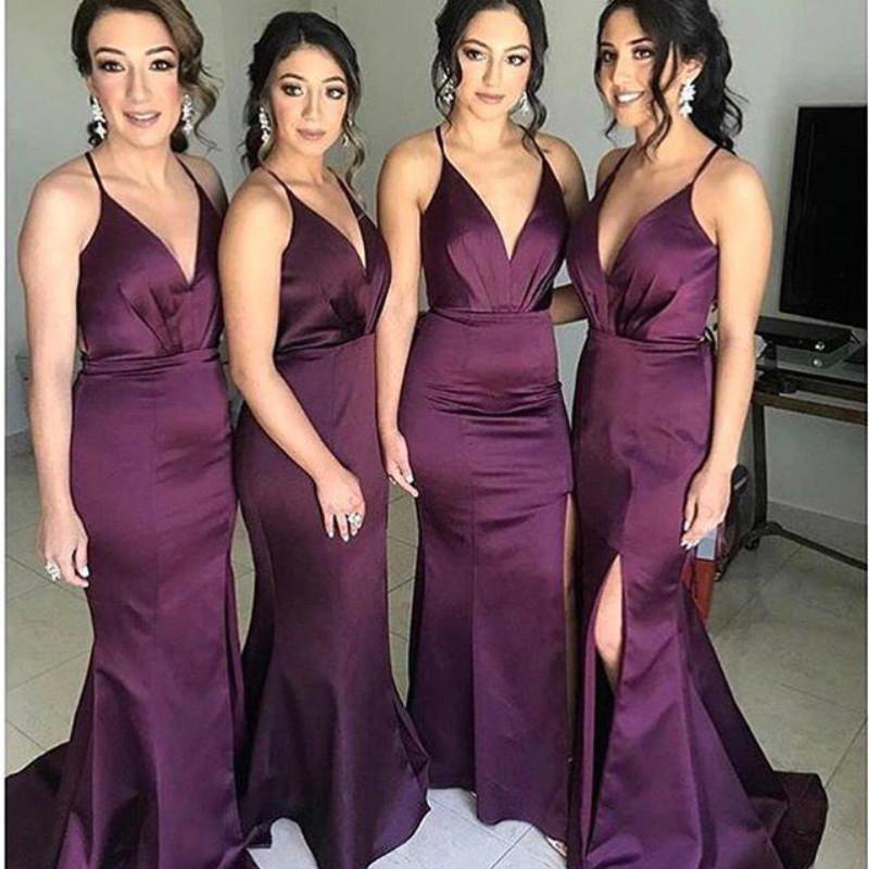 2020 Yeni Seksi Gelinlik Modelleri Denizkızı Kolsuz Spagetti Askı Saten Plus Size Onur Wedding Guest Abiye Giyim Ucuz BM0939 Maid