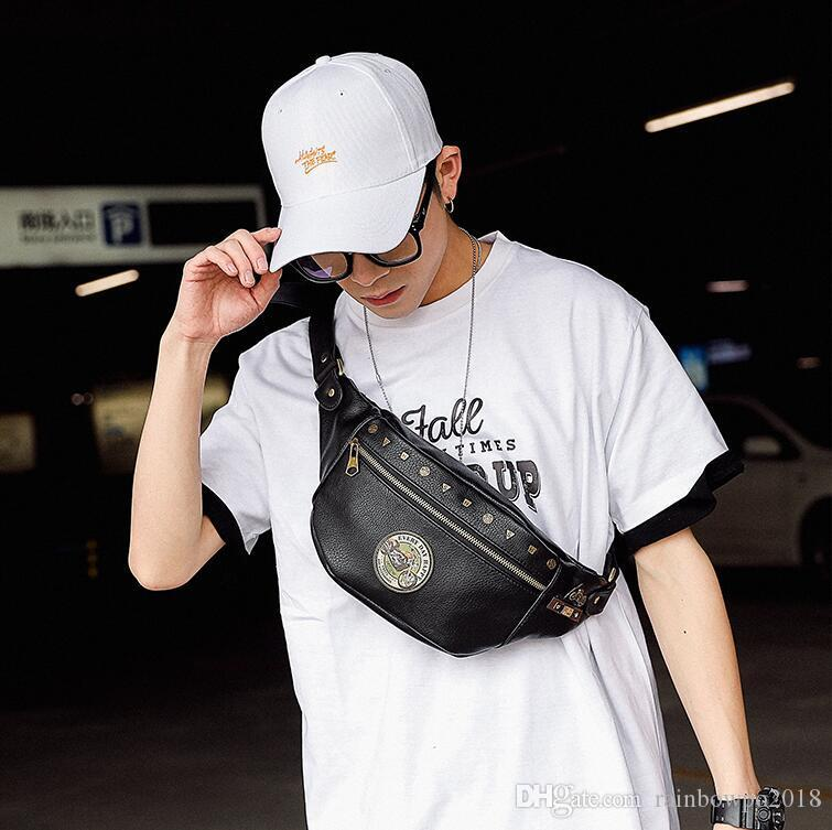 Factory wholesale men handbag new leather motorcycle chest bag street trend rivets men shoulder bag outdoor leisure leather purse messenger