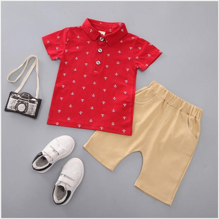 Retail 2020 New Children Polo Shirt Anchor Printed Little Boy's Suit Kids Short Sleeve T-shirt+Shorts 2pcs Sets Baby Boy Summer Outfits