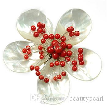 Handmade Flower Design Red Coral Bead Womens Brooch Natural Mother of Pearl White Shell Brooches 5 Pieces