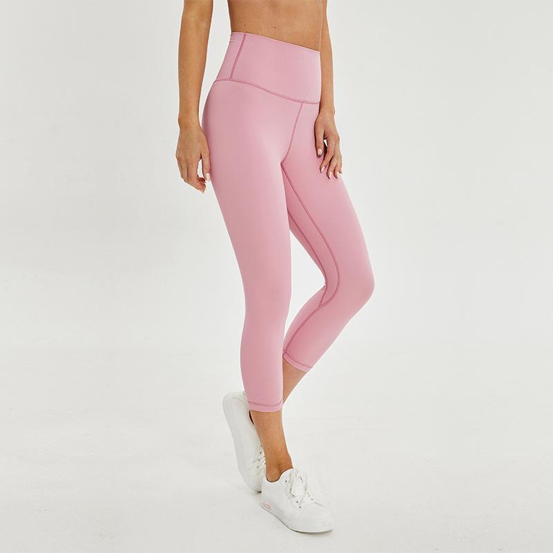 LU-64 2020 NEW 3/4 طول ارتفاع مخصر اليوغا سروال بدين دليل التدريب اقتصاص الجوارب امرأة اللياقة البدنية رياضة فليكس كابري اللباس