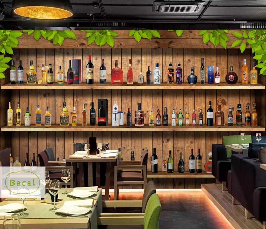 Bacal style européen Fond d'écran 3D Bouteilles de vin moderne Wine Rack en bois Papiers peints Cafe Bar Restaurant Backdrop Wall Paper