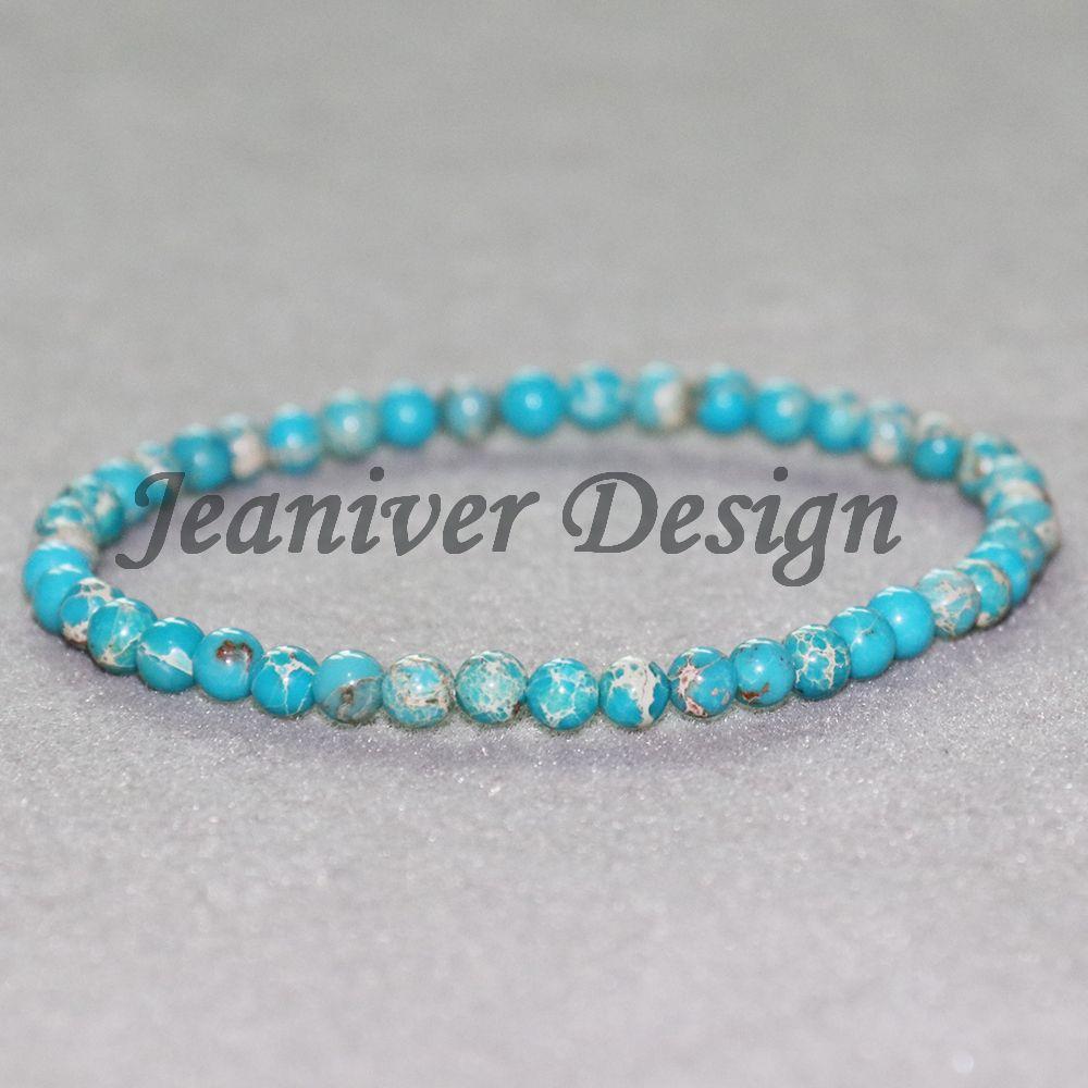Jeaniver 2019 tuquoise naturel Bracelet Bleu Régalite Bracelet Mini Gem pierre d'énergie Bracelet