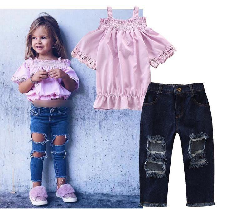 Neue Mädchen Sommerkleidung Set Kinder Slash Neck Tops Tshirt + Gebrochenes Loch Jeans Gir 2 stücke Set Kinder Outfits 14638