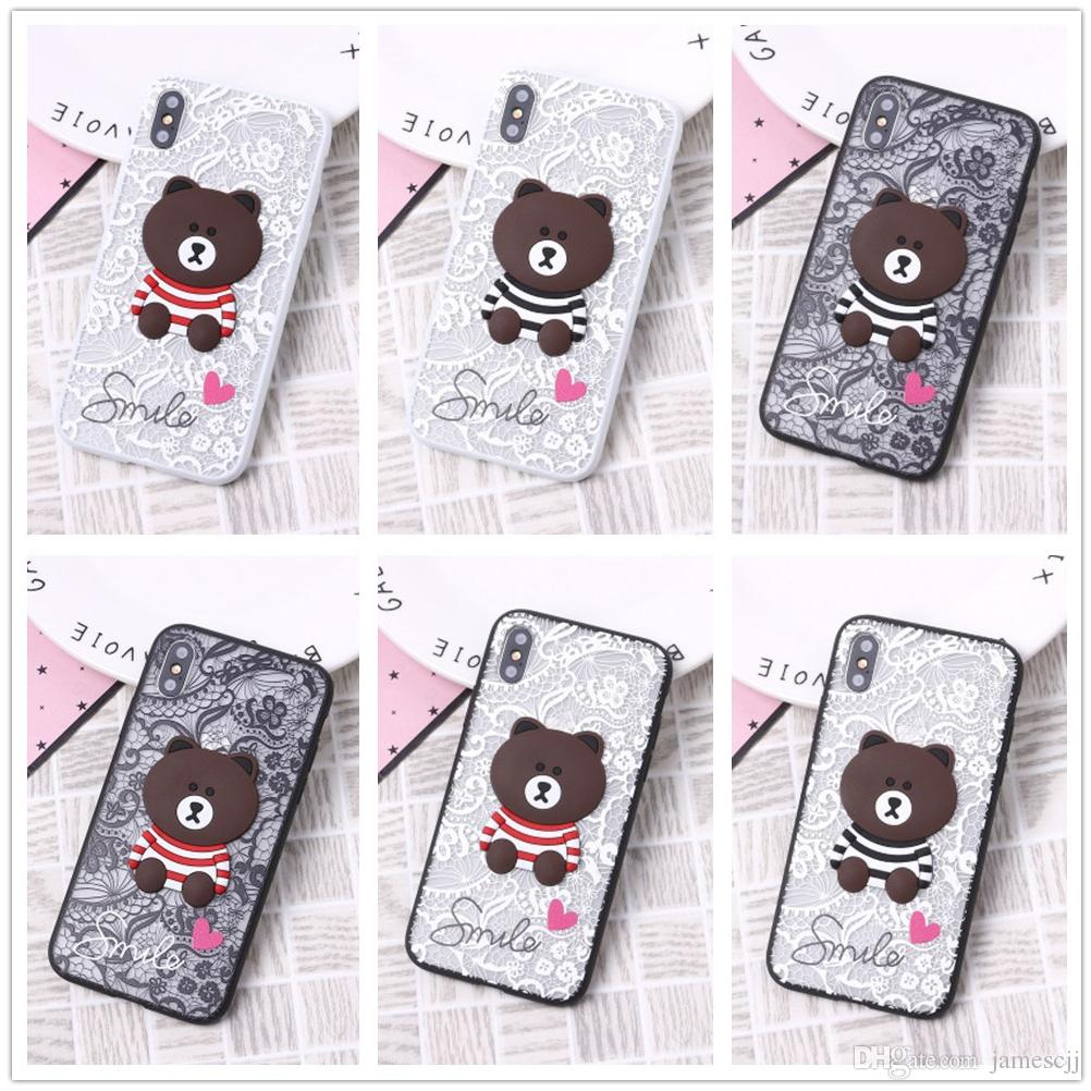 3D Cute Bear Lace Shockproof Soft Back Cover TPU Cell Phone Case Protective Covers Phone Accessories For iPhone X XR XS MAX 6 6S 7 8 PLUS