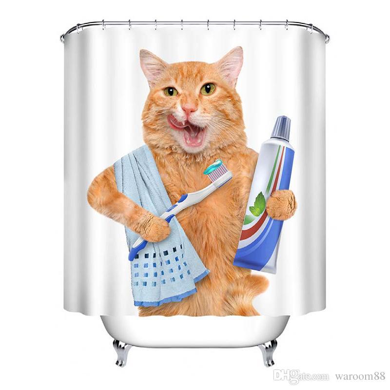 귀여운 고양이 3D 인쇄 샤워 커튼 방수 폴리 에스터 직물 목욕 커튼 욕실 커튼 장식 12 후크 60 * 40 매트