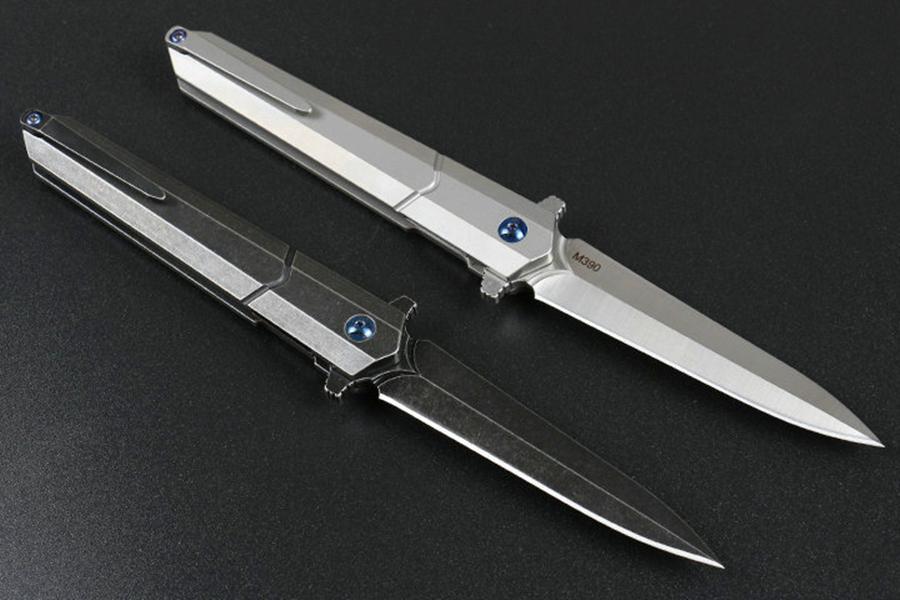 High-End roulement à billes Flipper Fodling Couteau D2 Satin / Black Stone Wash Lame TC4 poignée en alliage de titane Outils EDC