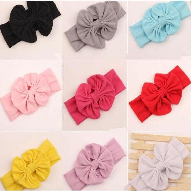 Cute Baby Bow ободки Girlse Большой Широкий диапазон волос Bowknot Мода Дети Headwear Дети Patrty Аксессуары для волос CFYZ245