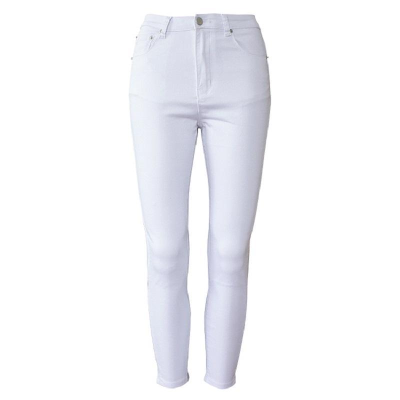 QIN AJILI Femme 2019 bianco alla caviglia pantaloni skinny a vita alta denim casuale jeans delle donne lavato cotone figura intera spedizione gratuita